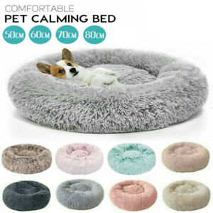 Dog/Cat Comfy Calming Warm Bed Pet Round Super Soft Marshmallow Puppy Bed UK