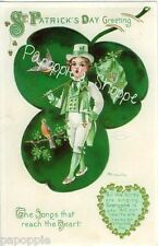 St Patrick's Day Fabric Block Vintage Postcard on Fabric Irish Greeting