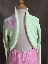 GYMBOREE PETIT FOUR Light Green SHRUG SWEATER Cardigan Pink CORSAGE 12