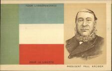 South Africa Flag & President Paul Kruger c1900 UDB Postcard G19