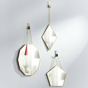 Set of 3 wall Hanging Geometric Wall Mirrors Gold Hexagon Decor Modern New Trend