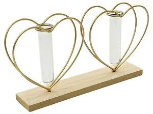 Double Heart Test Tube Vase Gold Metal Love Heart Wedding Flower Centrepiece
