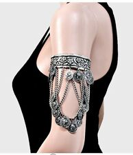 Metal Silver Upper Arm Armlet Fringe Coin Cuff Belly Dance Costume Bracelet
