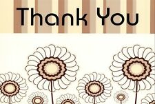 Thank You Cards Thankyou Postcards Brown & Cream Pack of 12 Cards & Envelopes