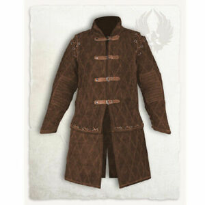 Thick Brown Gambeson Medieval Padded Full Sleeves Armor Reenactment Larp