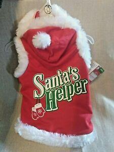 "Simply Dog ""Santa's Helper"" Dog Hoodie Size Medium"