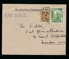 ZANZIBAR 1946 OFFICIAL PRINTED ENVELOPE AIRMAIL 1s + 25c to EAST AFRICA GAZETTE