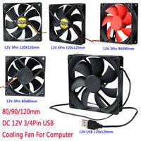 80/90/120mm DC 12V 3/4Pin USB Cooling Fan Computer PC Case Cooling Cooler Fans