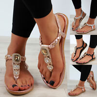 New Womens Low Heel Sandals Embellished Toe Post Slingback Holiday Shoes Sizes