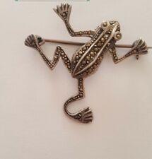 Vintage Marasite 925 Silver  Frog Brooch