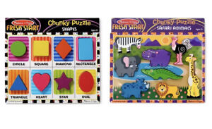 SHAPES & ZOO ANIMALS CHUNKY Wooden Tray Puzzles x 2 Melissa and & Doug BN Sealed