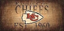 "Kansas City Chiefs Retro Throwback Established 1960 Wood Sign - NEW 12"" x 6"""