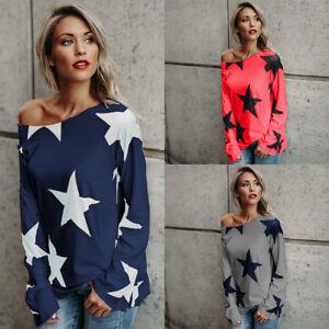 Women Strapless Star Sweatshirt Long Sleeve Crop Jumper Pullover Tops Blouse New