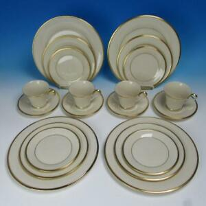 Lenox China - Eternal Gold Trim - 4 Place Settings - Plates/Cup/Saucer - 20 Pcs