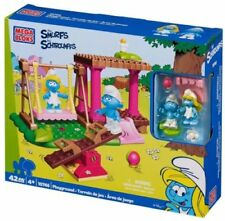 Mega Bloks Smurfs Playground Playset Small Blocks + Figures buy 2 for £2 refund.