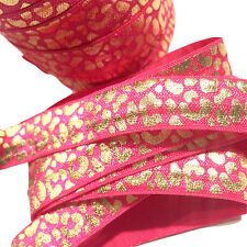 "5 yards hot pink w/ metallic foil gold leopard print /8"" fold over elastic FOE"