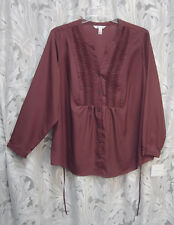 MAROON BUTTON FRONT SMOCK TIE-BACK SATIN CREPE DE CHINE BLOUSE SHIRT TOP~3X~NEW