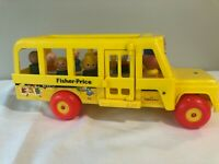 Vintage Fisher Price Little People School Bus #192 1965 with 7 VTG Wood Figures