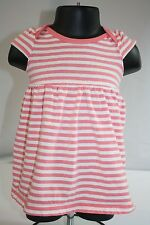 Baby Girl Old Navy Peachy Pink White Striped 100% Cotton Dress 3-6 Months