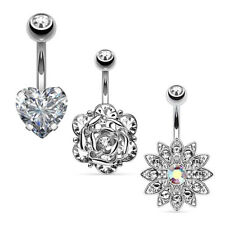 316L Surgical Steel Body Piercing Jewelry 3Pcs Short Navel Belly Button Ring Set