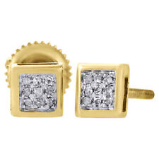 10K Yellow Gold Genuine Diamond Pave Studs Mini 4.90mm Square Earrings 0.05 Ct.