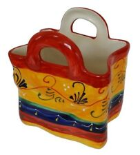 Ceramic Bag Vase Container Large   25 x 20 x 14 cm Spanish Handmade Pottery