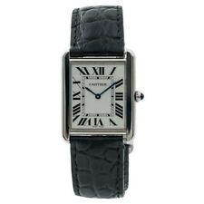 Cartier Tank Solo 2715 Men's Watch: Silver, Sapphire Crown, Alligator Strap