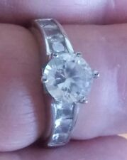 Sterling Silver Engagement Ring with Cubic Zirconia  Stones size 6.((364))