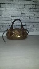 *RARE* Mulberry Jody Gold Brown Cracked Snakeskin Leather Postman Lock Hand Bag