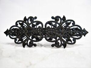 Black metal filigree hair clip clamp barrette