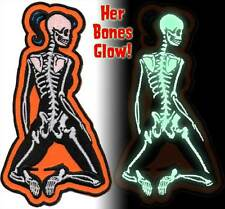 Patch Skeletal Girl Glow in the Dark Rear Dead Pin Up Rockabilly Horror NFP032