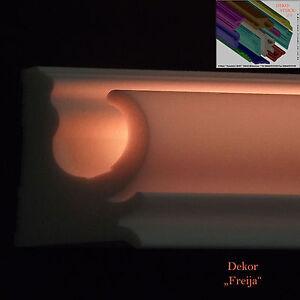 Stucklleiste Stuckprofile LED Zier Profil 32 Meter+8 Stck.I-A-Ecken Dekor Freija