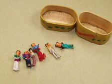 6 VINTAGE Miniature Hand Made Money Dolls in Miniature Box