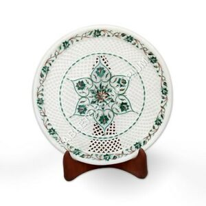 "11"" White Marble Serving Plate Malachite Filigree Inlay Floral Art Home Décor"