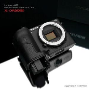 Gariz XS-CHA6600BK Genuine Leather Half Case for Sony a6600, Black