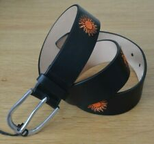 """PAUL SMITH Dreamer embroidered Suns sun black leather belt 30"""" MADE IN SPAIN"""