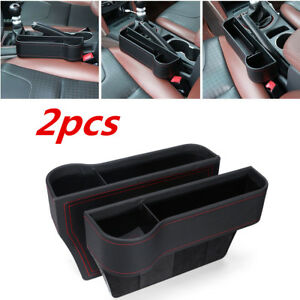 2x Leather Catch Catcher Box Caddy Car Seat Gap Slit Pocket Drink Cup Organizer