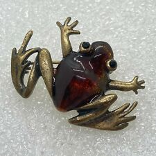 Vintage FROG BROOCH Pin Amber Color Lucite Jelly Belly Rhinestone Jewelry
