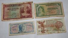 LOTE DE 4 BILLETES DE LA SEGUNTA REPUBLICA, AÑO 1935 Y 1937 - 2ªU