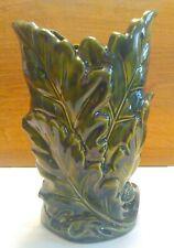 Flower Vase, Green Leaves, Ceramic, Glazed