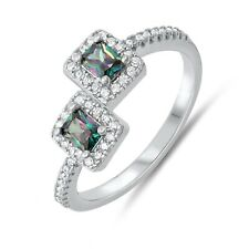 Simulated Mystic Rainbow Topaz Diamond Princess Square Sterling Silver Ring