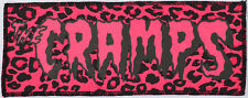 NEON UV PINK & BLACK CRAMPS PSYCHOBILLY PUNK GOTH PINK LEOPARD OVER LOCKED PATCH
