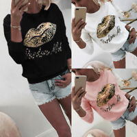 Women Long Sleeve Leopard Lips Sweatshirt Hoodies Ladies Pullover Jumper T Shirt