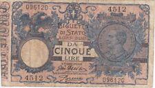 BIGLIETTO DI STATO DI ITALIA 5 LIRE ANNO 1904 VITORIO EMANUELE III