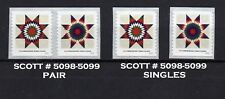 USA, SCOTT # 5098-5099, PAIR & SINGLES OF STAR QUILTS 2016 PRESORTED FIRST CLASS
