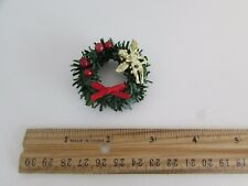 Dollhouse Miniature - Wreath with Red Bow, Red Balls and Gold Cherub