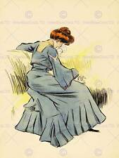 PAINTING PORTRAIT EDWARDIAN WOMAN READING BOOK DRESS COUCH POSTER PRINT BB8157B