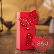 10x Wedding Bomboniere Box Engagement Party Favour Red 5x3.6x12cm Butterfly
