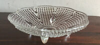 Lovely Vintage Clear  Glass Footed Bowl