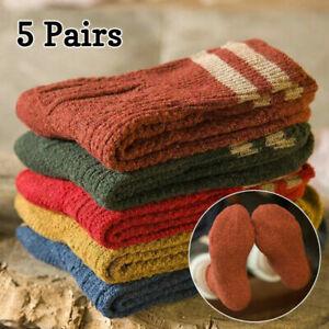 5 Pairs Women Wool Cashmere Ladies Thick Winter Socks Warm Soft Casual Socks New